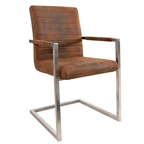 Invicta Interior Freischwinger Stuhl LOFT Vintage braun mit gepolsterten Armlehnen und Edelstahlgestell Esszimmerstuhl
