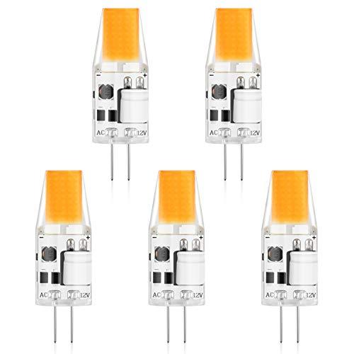 Creyer G4 LED Lampen Kein Flackern / 300 lumens / 3W ersetzt 30W Halogenlampen/Warmweiß 2900K / Nicht Dimmbar / G4 LED Leuchtmittel Birne / 12V AC/DC / 5er Pack