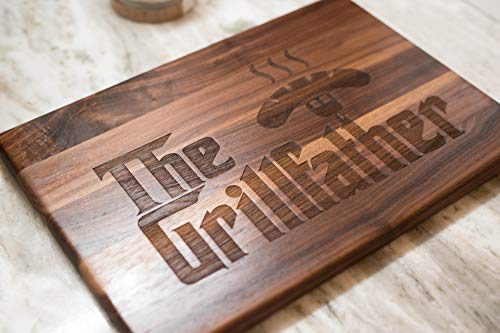 Father's Day Gift for Dad : The Grillfather Cutting Board is Handmade in the U.S.A. Grill and Treat your Father, Stepfather or Grandfather this Fathers Day!