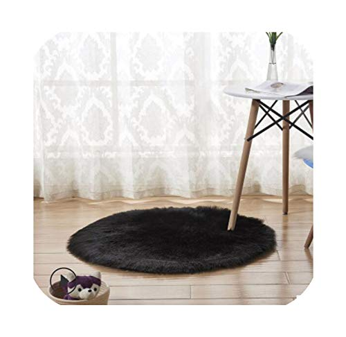 NanPing New Soft Faux Fur Wool Living Room Sofa Carpet Plush Carpets Bedroom Cover Mattress Xmas Door Window Round Rugs Carpets,A-Black,60X60CM