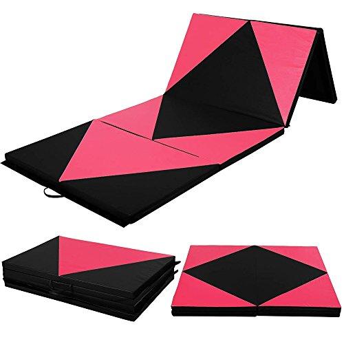 pittayadomeshop Gymnastics Mat 4'x10'x2 Thick Folding PU Panel Gym Fitness Exercise Yoga Activities Aerobics Mats Stretching Pink-Black Color