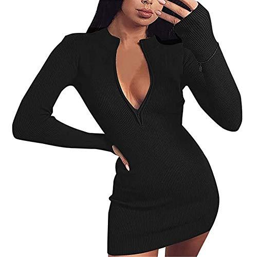 VisSec Damen Pullover Kleid Frauen Langarm Rückenfrei Kleid mit Bow Sexy Mini Bandage Mode Minikleid Elegante Winterkleid Modische Strickkleid Wickelkleid Hemdkleid Herbstkleid Partykleid Schwarz S