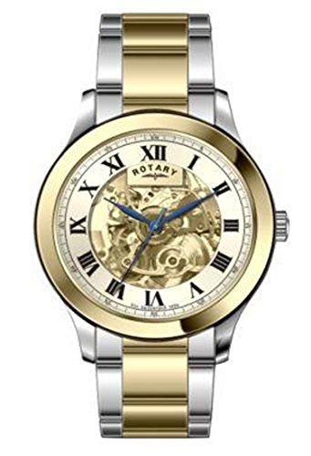 Rotary Montre squelette pour homme avec cadran argenté et bracelet en acier inoxydable GB00110/03
