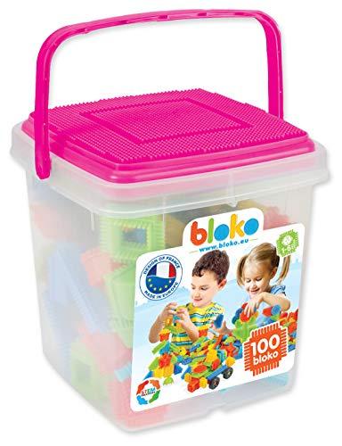 BLOKO - 503584 - Barile da 100 BLOKO' con placca da gioco rosa, a partire da 12 mesi, fabbricato in Europa, giocattolo di costruzione