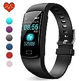Polywell Fitness-Tracker, Aktivitätstracker mit Herzfrequenz-Monitor und Schlaf-Monitor, Bluetooth, wasserdicht, Schrittzähler und Kalorienzähler (Schwarz)