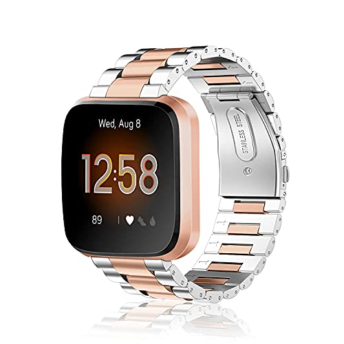 Fintie Armband kompatibel mit Fitbit Versa/Fitbit Versa 2 / Fitbit Versa Lite - 22mm Uhrenarmband Edelstahl Metall Ersatzband für Fitbit Versa Health & Fitness Smartwatch, Silber/Roségold