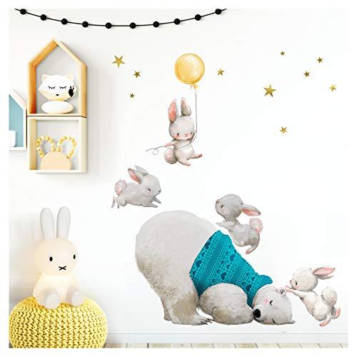 Little Deco wandtattoo babykamer ijsbeer & hazen met ballon geel II sterren kinderfoto's deco kinderkamer jongens sticker DL235