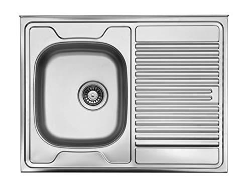 Auflagespüle Edelstahl, Edelstahlspüle 80cm x 60cm mit Ablage, Spüle, Waschbecken, Küchenspüle