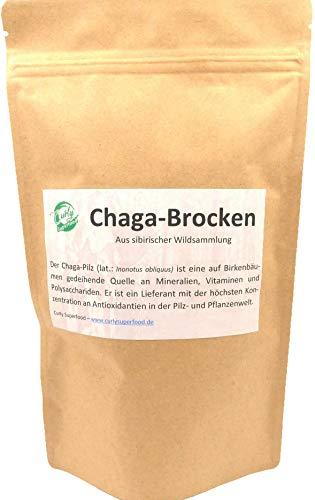 Curly Superfood - Chaga-Brocken aus sibirischer Wildsammlung (250g) | Reicht für eine 3-monatige Kur