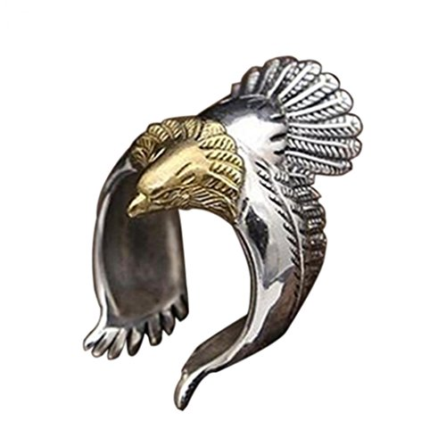 Amesii, anello da uomo a forma di aquila in volo, da motociclista, in stile punk, vintage, design...