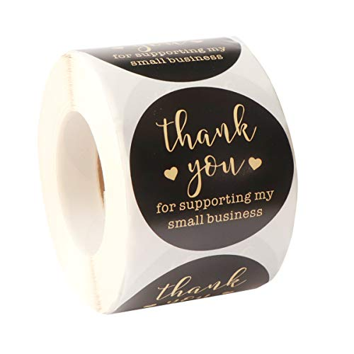 Thank You Stickers Roll - 1.5 Inch Gift Stickers Labels, SPWOLFRT Retro Black with Gold Blocking Font, 500 Labels per Roll, Ideal for Business, Shops to Use on Bags, Boxes and Envelope (Black)