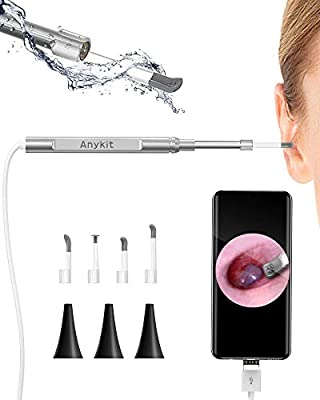 USB Otoscope-Ear Scope Camera, Anykit New Upgraded 4.3mm Diameter Visual Ear Camera HD Ear Endoscope with Earwax Cleaning Tool and 6 Adjustable LED Lights for Android and Windows & Mac.