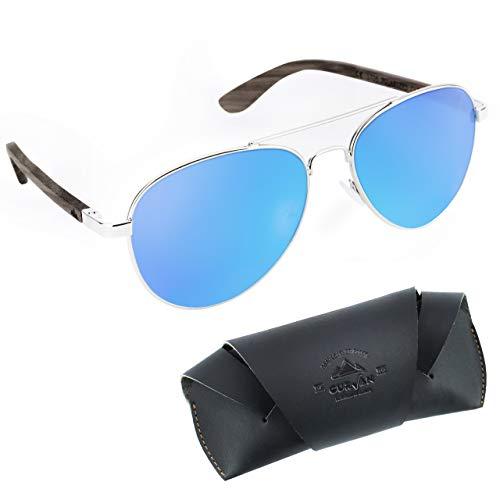 CURVAN - Gafas de Sol Polarizadas Hombre Mujer Unisex | Estilo Aviador | 100% Protección UV400 | Patillas Madera Natural Ecológica | Lente Antirreflejante Antideslumbramiento (Azul)