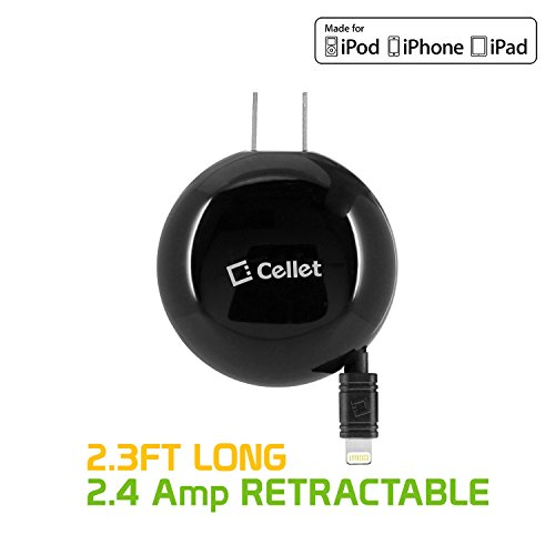 Cellet Retractable Home/Wall Fast Charger 2.4 amp (10 Watt) Compatible for iPhone 11 Pro Max XS Max Xr X 8 7 6 iPad Air Pro Mini 4 3 2 iPod Touch & All Lightning Devices – 2.5 ft Cord -MFI Certified