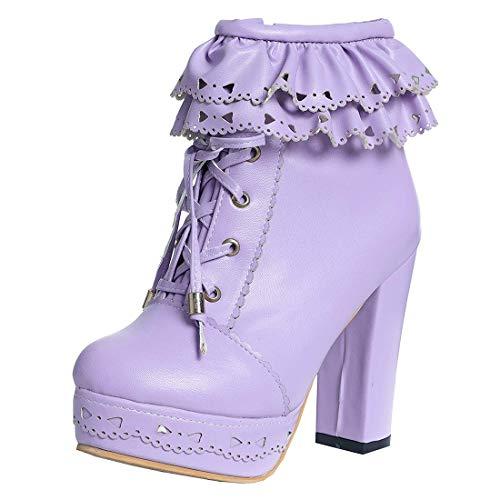MISSUIT Damen Blockabsatz Plateau High Heels Stiefeletten mit Schnürung und Reißverschluss Lolita Ankle Boots Rockabilly Schuhe(Lila,39)
