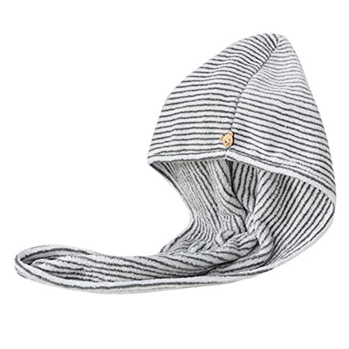 yqs Ultra Absorbente Tipo Turbante Bambú Charcoal Fibra Cabello Wrap Wrap Microfiber Seco Quick Turban Gorra con botón Absorbente Anti-Frizz Hombro de Ducha (Color : B)