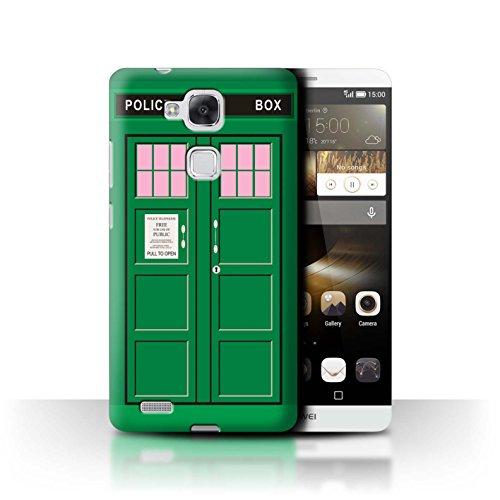Hülle Für Huawei Ascend Mate7 Tardis Handyzelle Kunst Grün Design Transparent Ultra Dünn Klar Hart Schutz Handyhülle Hülle