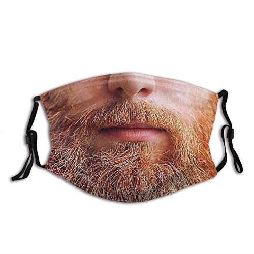 Mustache Face Mask Reusable Men Women Party Cosplay-A Luscious Ginger Beard 9- Washable Face Shield Neck Gaiter Made In USA-one_color-