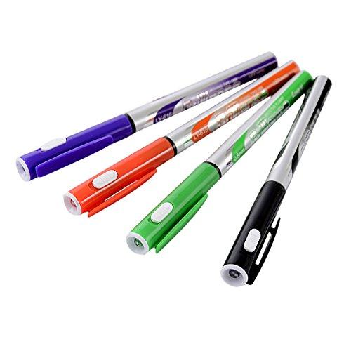 Hacoly 4 Stücke Kugelschreiber mit Taschenlampe Schreibfarbe Blue Roller Ball Stift Nein gravur geschenk gelschreiber Niedlich schneider stifte - Gehäusefarbe Zufällig