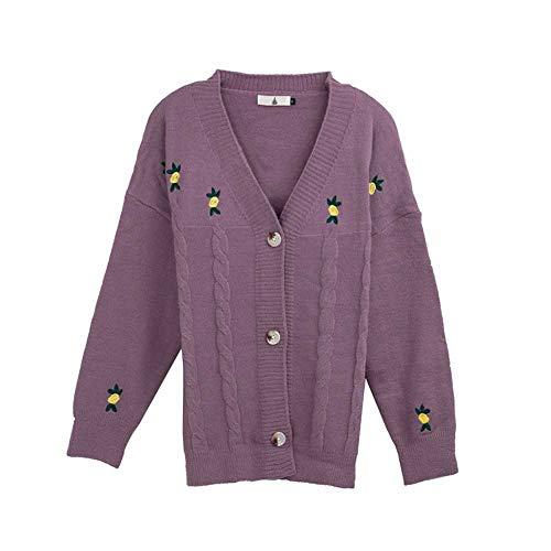 YANGPANGZI Blusa de Mujer otoño con suéter de Rebeca de Flores Bordadas con Mayor Grasa