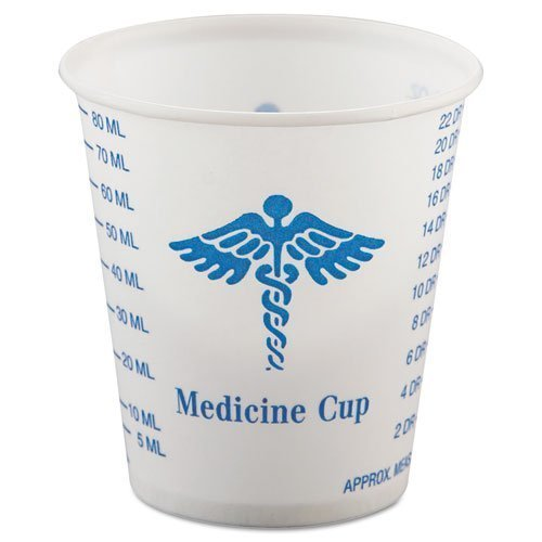 SOLO Cup Company Paper Medical & Dental Graduated Cups, White/Blue, 3 oz, 100/Bag, 50 Sleeves of 100 Cups, 5000 Per Case