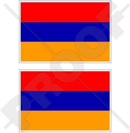 Armenien Armenische Flagge 7,6cm (75mm) Bumper Sticker, Aufkleber Vinyl X2