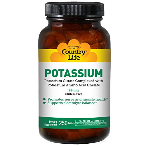Country Life Potassium Supplement, 99mg, 250-Count, Potassium Amino Acid Chelate, Promotes Healthy Nerves & Muscles, Gluten-Free