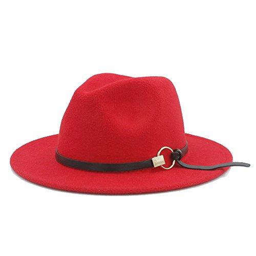 Sombrero Mujer Temperamento Invierno Otoño Primavera Panamá Sombrero Fedora con accesorios de aleación Por diseño original Moda Sombrero de lana para mujeres Hombres Gran ala Sombrero adulto Sombrero