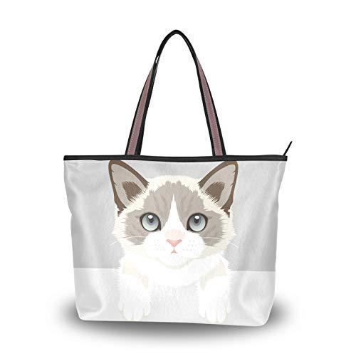 Bolsos de mano con correa de peso ligero, bolso de mano para mujeres, niñas, señoras, bolso de estudiante, compras, lindos bolsos de hombro con dibujos animados de gatos y animales