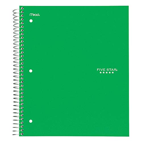 "Five Star Spiral Notebook, 1 Subject, Wide Ruled Paper, 100 Sheets, 10-1/2"" x 8"", Green (72013)"