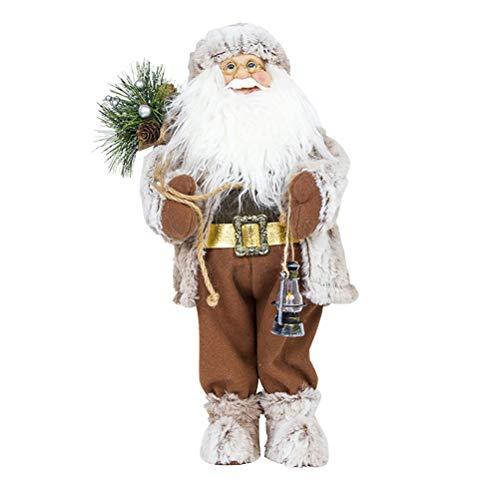BESTOYARD Babbo Natale Pupazzo con Lanterna Porta Candele Regali di Natale S (Grigio)