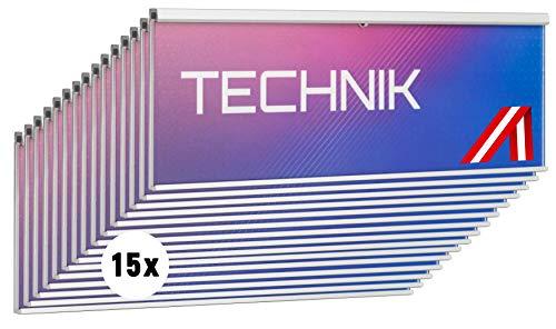 SCHILDER Systeme 15 placas para puerta MODO | placa para nombre anodizado en plata | disco acrílico antirreflectante de 2 mm | montaje fácil adhesivo | cambio de texto sin herramientas | 105 x 54 mm