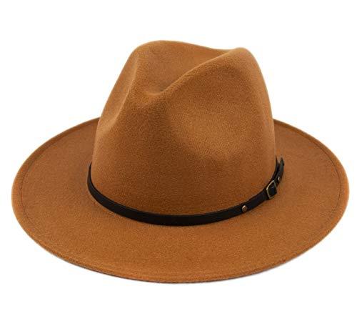 Lanzom Womens Classic Wide Brim Floppy Panama Hat Belt Buckle Wool Fedora Hat (One Size, Khaki)