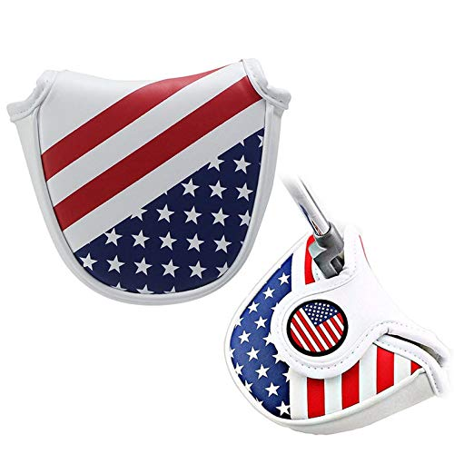 Golf Putter Cover,American Flag Patrioism Mallet Putter Headcover Leather Golf Putter Head Cover with Magnetic for Heel Shaft RH LH fits Odyssey 2ball Red O Works Stroke Lab,Scotty Cameron