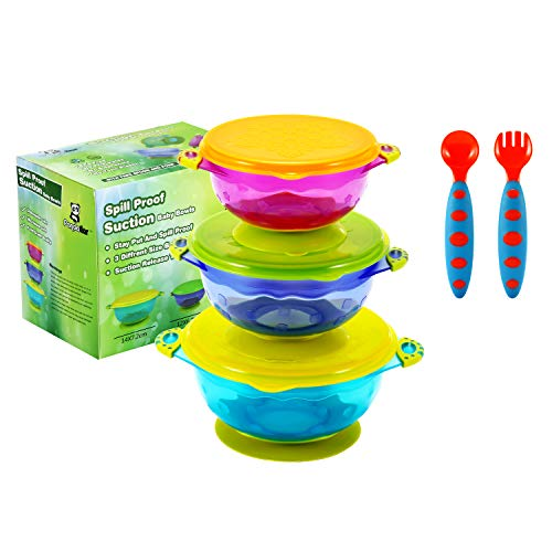 PandaEar Stay Put Spill Proof Stackable Baby Suction Bowls 3...