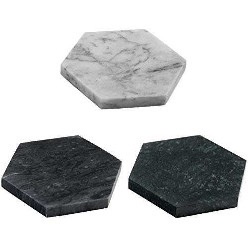 KEKEYANG 3 posavasos de mármol natural nórdico con aislamiento de diamante irregular para taza de café de piedra pura, cojín antideslizante