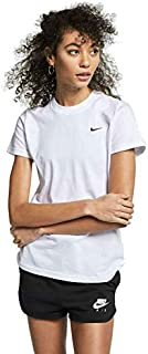 Nike Women's NSW ESSNTL Top SS LBR LC, Blue(White/Black100), X-Large