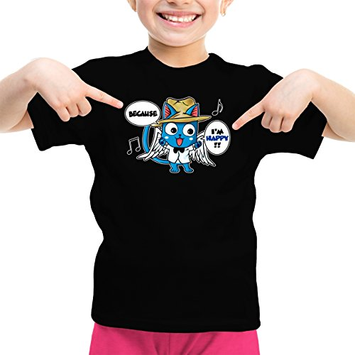 Okiwoki T-Shirt Enfant Fille Noir Fairy Tail parodique Happy : Happy Williams : (Parodie Fairy Tail)