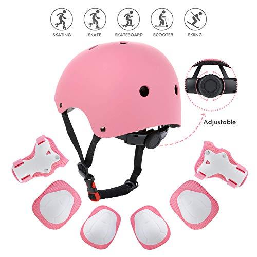 SHENGWQ Casco Infantil, Protecciones Patines Niña Rodilleras y Cascos Ajustable Coderas para Patinar Bicicleta Monopatín