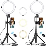 VIJIM 8' Selfie Ring Light with Tripod Stand and Phone Holder, Dimmable Desktop LED Circle Light for Photography/Makeup/Vlogging/Live Streaming, Compatible with iOS and Android Phones and Cameras