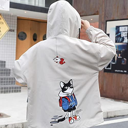 Otoño 2021 Chaqueta de béisbol con Capucha Suelta Mujeres Kawaii Imprimir Sweet Harajuku Fashionable ZA Ropa Vintage Cubierta de Viento Abrigo Largo