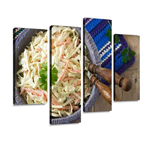 IGOONE 4 Panels Canvas Paintings - Coleslaw Salad from Cabbage and Carrots with Dressing Mayonnaise - Wall Art Modern Posters Framed Ready to Hang for Home Wall Decor