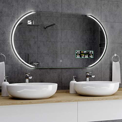 Alasta® Badspiegel Beleuchtet - 80x160 cm - Kairo Spiegel mit Touch Lichtschalter und Wetterstation Modell P3