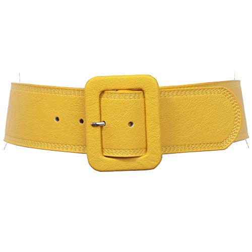 Women's 2 1/4' Wide High Waist Rectangular Stitch-edged Leather Belt, Yellow | S/M-32'