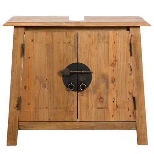 Cikonielf Armario bajo lavabo con 2 puertas, mueble bajo el lavabo con un amplio compartimento, de madera maciza de pino reciclado, para debajo del fregadero, 70 x 32 x 63 cm