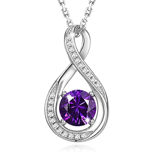 Gemlanto Collar de plata de ley 925 de collares con piedras natales de Febrero amatista creado por el infinito para mujer cumpleaños aniversario joyería regalos para su madre