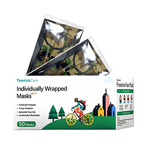 TomrickCare Camo Adults Disposable Face Mask 50 PCS,3 Ply,Camouflage