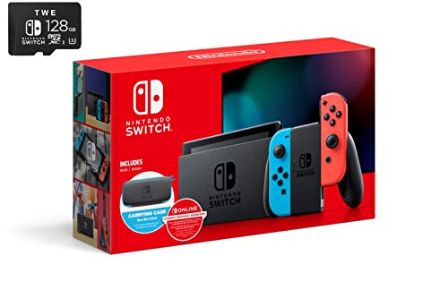 Nintendo Switch Bundle with Carrying Case & SD Card: Nintendo Switch 32GB Console with Neon Red and Blue Joy-Con, 12-Month Individual Membership Online, Carrying Case & TWE 128 GB Micro SD Card