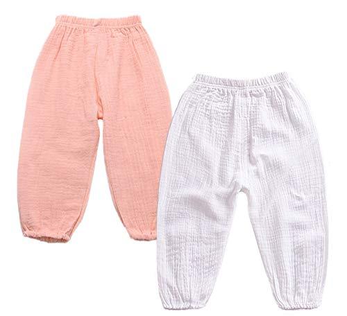 Pack de 2 pantalones bombachos de verano de algodón y lino antimosquitos para jogging, informales y elásticos