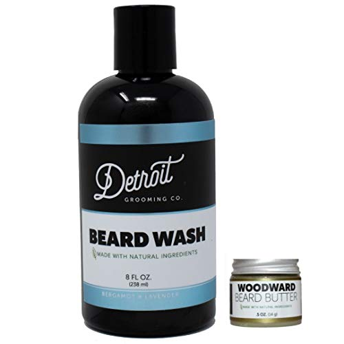 Detroit Grooming Co. Limited Release Combo - Bergamot Lavender Beard Wash (8oz) and Woodward Beard Butter (0.5oz) - Natural Beard Cleanser and Hydrating Beard Balm Combine to Nourish, Help Beards Grow